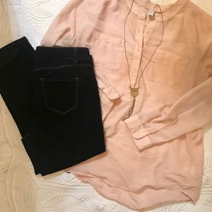 Old Navy Peach Half Button up Blouse